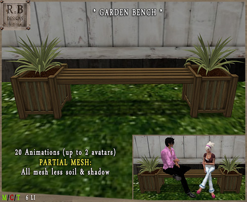 PROMO ! *RnB* Mesh Garden Bench 2-1 - 20 Anims (up to 2 avs)2