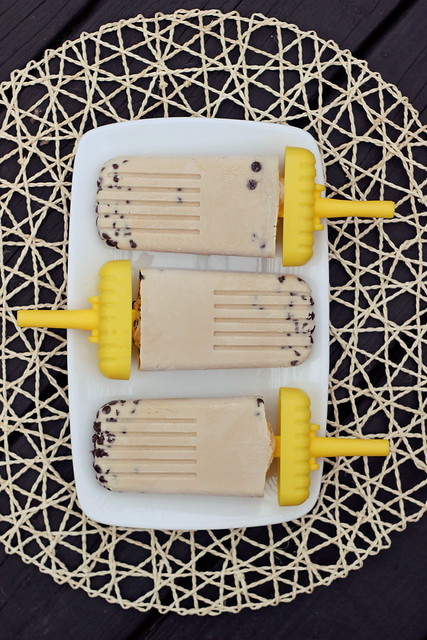Vegan Chocolate Chip Cookie Dough Popsicles - Gluten-free + Refined Sugar-Free