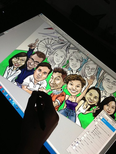 digital group caricature for Loreal - progress 5
