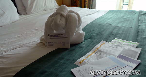 These appeared in our room in the evening, including detailed instruction on disembarking and checking out