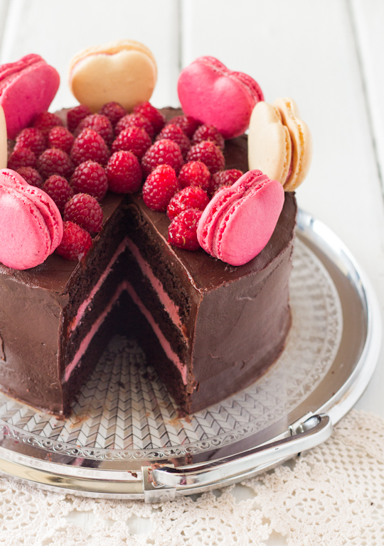 raspberri cupcakes: Chocolate Raspberry Layer Cake with Macarons