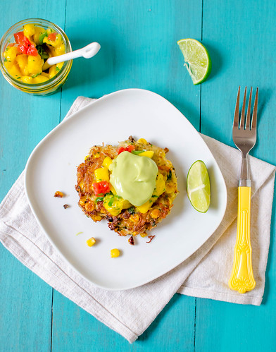 Pink Parsley: Crab & Corn Cakes with Mango Salsa and Avocado Cream