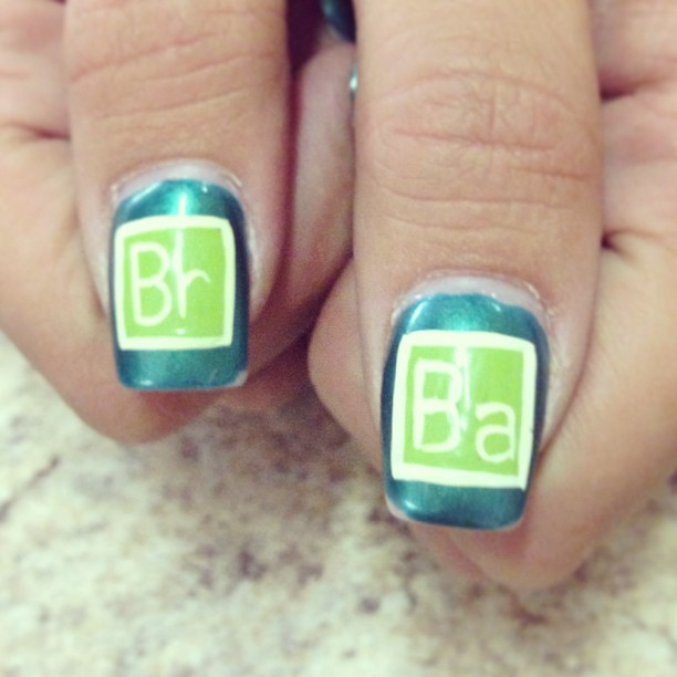 Awesome #breakingbad themed #mani spotted on my cashier! #nails #nailart
