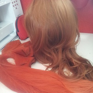Today's task, adding the first set of wefts to the base wig! #cosplay #merida #meridacosplay #wigmaking #wigdying