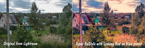 Original and Topaz ReStyle image of dacha tych