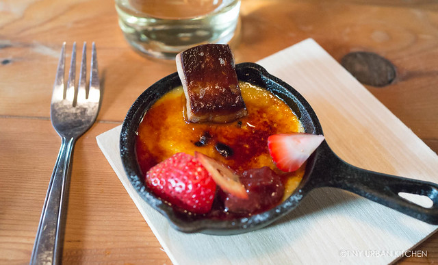 Foie gras creme brûlée with strawberry paper, strawberry, white balsamic jam