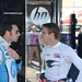 Simon Pagenaud and Sebastien Bourdais talk in the Sonoma paddock