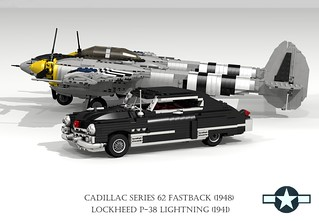 Lockheed P-38 Lightning (1941) and Cadillac Series 62 Fastback (1948)