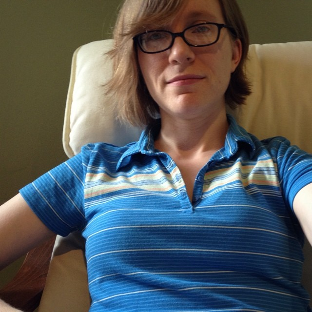 "As soon as I got dressed, M squealed ""mama, I LOVE your blue shirt!"" Thanks, kiddo, I like it too :)"