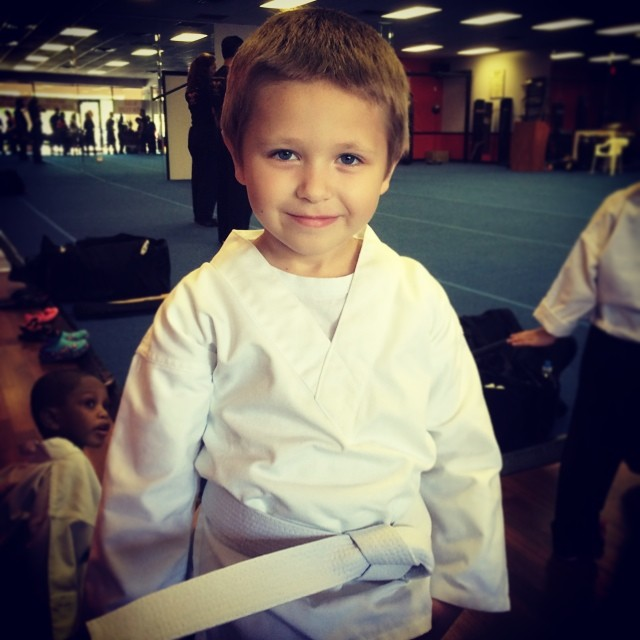 Zachary started his first martial arts class today and earned his white belt! We are sooooo proud of him! Photo by Daddy @explorerziem #jeetkunedo #martialarts