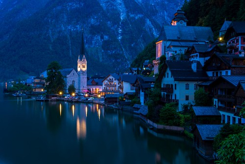 world city blue light mountain lake mountains color colour reflection tower heritage classic church water colors architecture reflections lights austria town site twilight nikon scenery europe long exposure european cityscape colours village view dusk lakes scenic eu unesco reflect vista bluehour nikkor kuba refelction cityline clasic hallstatt d610 2470 abramowicz