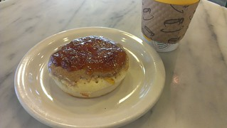 Crumpet with Almond Butter and Marmalade from The Crumpet Shop