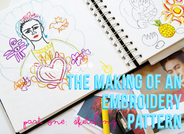 Frida Kahlo embroidery pattern - process