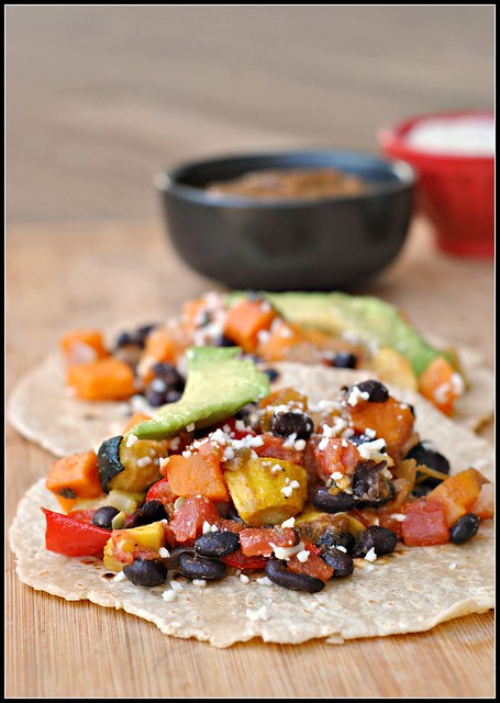 Roasted Vegetable and Black Bean Tacos 1