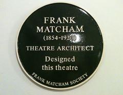 Photo of Frank Matcham black plaque