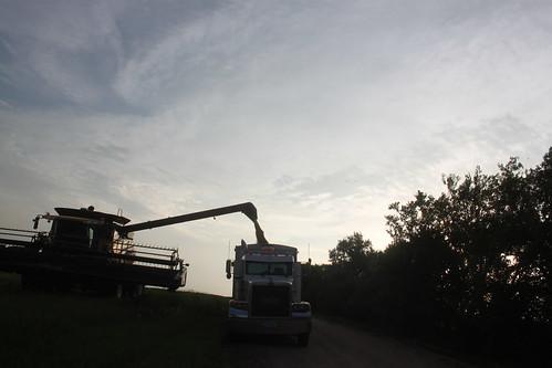 Unloading final hopper for the evening.