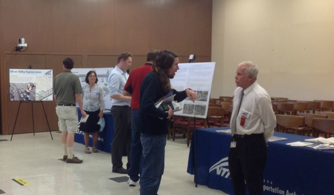 VTA staff discuss projects and service in the North East County at an open house in Santa Clara July 21
