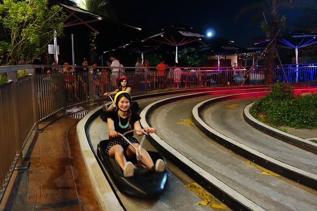 Ending the Luge ride in Sentosa with Estella hot on my wheels (literally!).