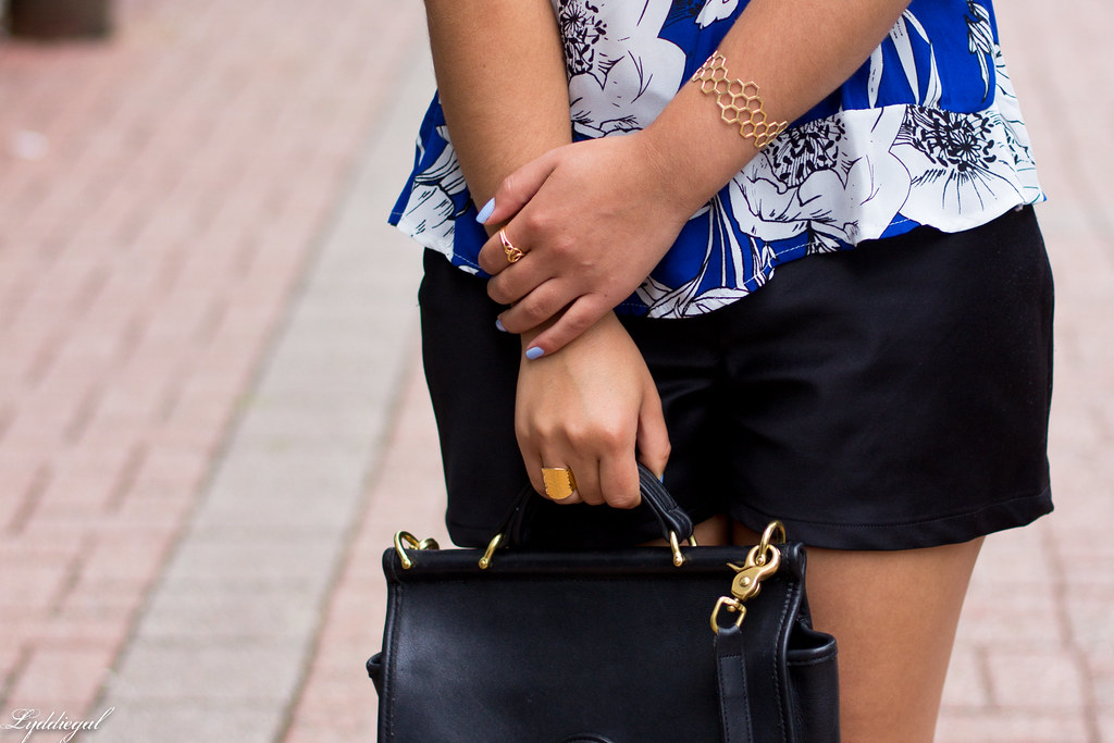 blue and white floral blouse, black shorts-6.jpg