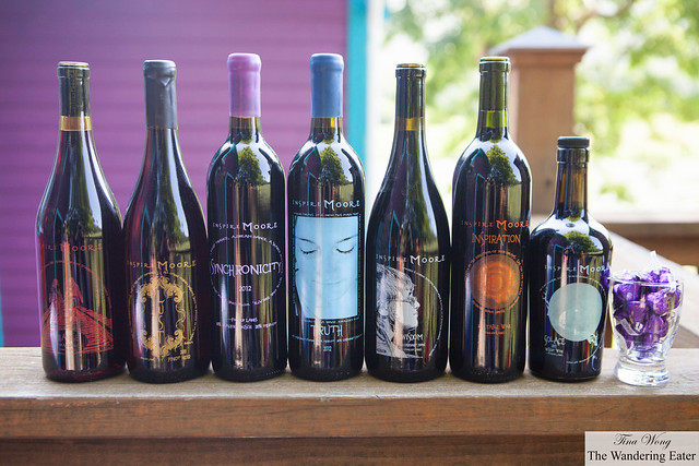 The entire lineup of Inspire Moore Winery's wines