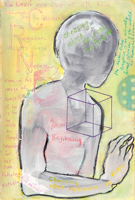 the big cry, art journal page, gallery juana