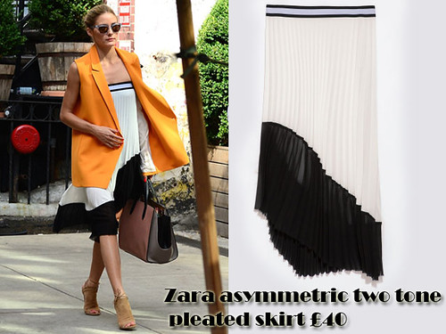 Skirt worn as a dress trend: Zara asymmetric two tone pleated skirt