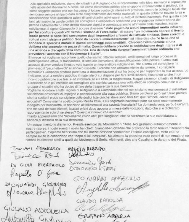 Le firme di tutti gli attivisti