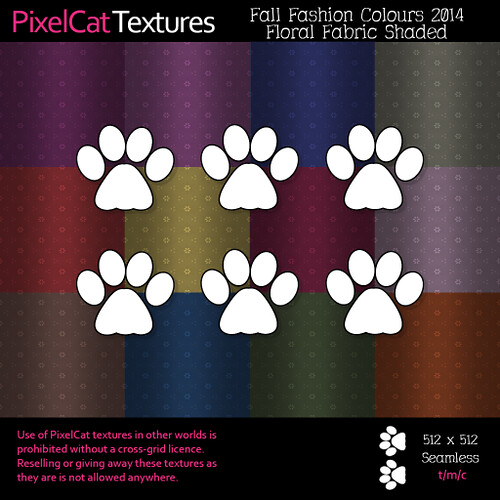 PixelCat Textures - Fall Fashion Colours 2014 - Floral Fabric Shaded