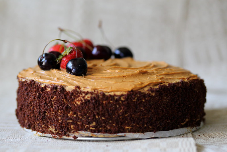 Chocolate caramel coffee cake