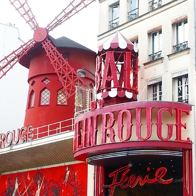 #latergram  of the Moulin Rouge as we walked by this afternoon.  #Paris