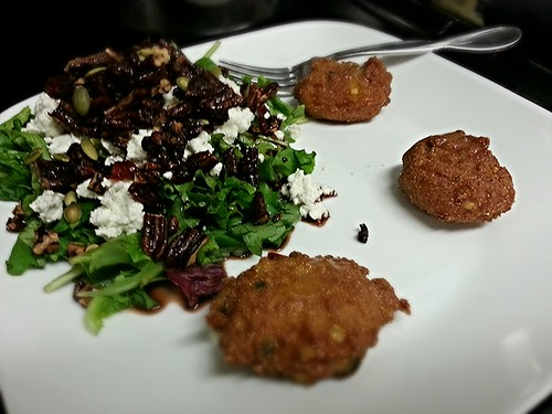 hush puppies and mixed green salad