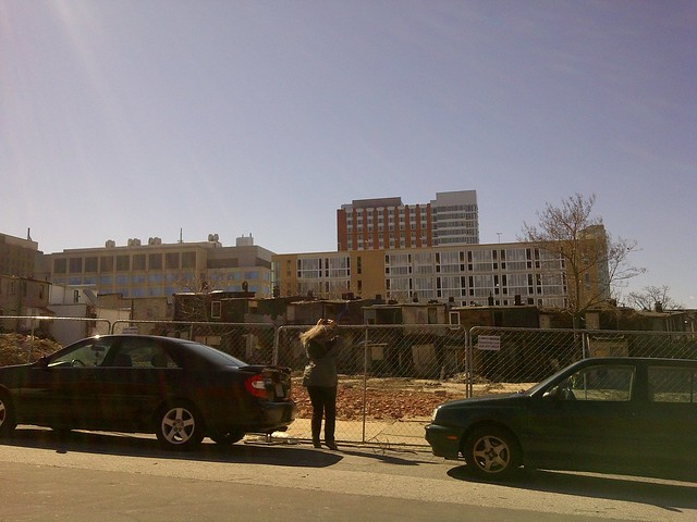 Johns Hopkins Medical Institutions in the backdrop of land cleared for new housing