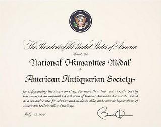AAS National Humanities Medal citation