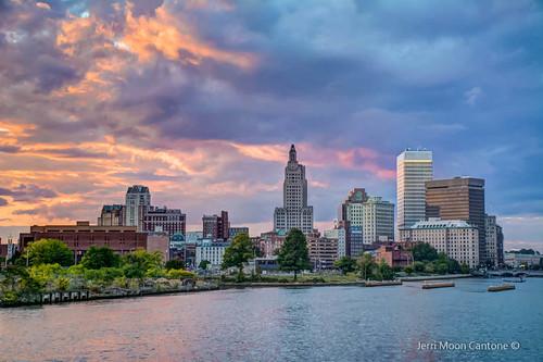 city blue sunset skyline clouds island providence rhode downcity