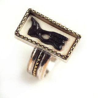 El Gato Modernist Mexican Cameo Ring