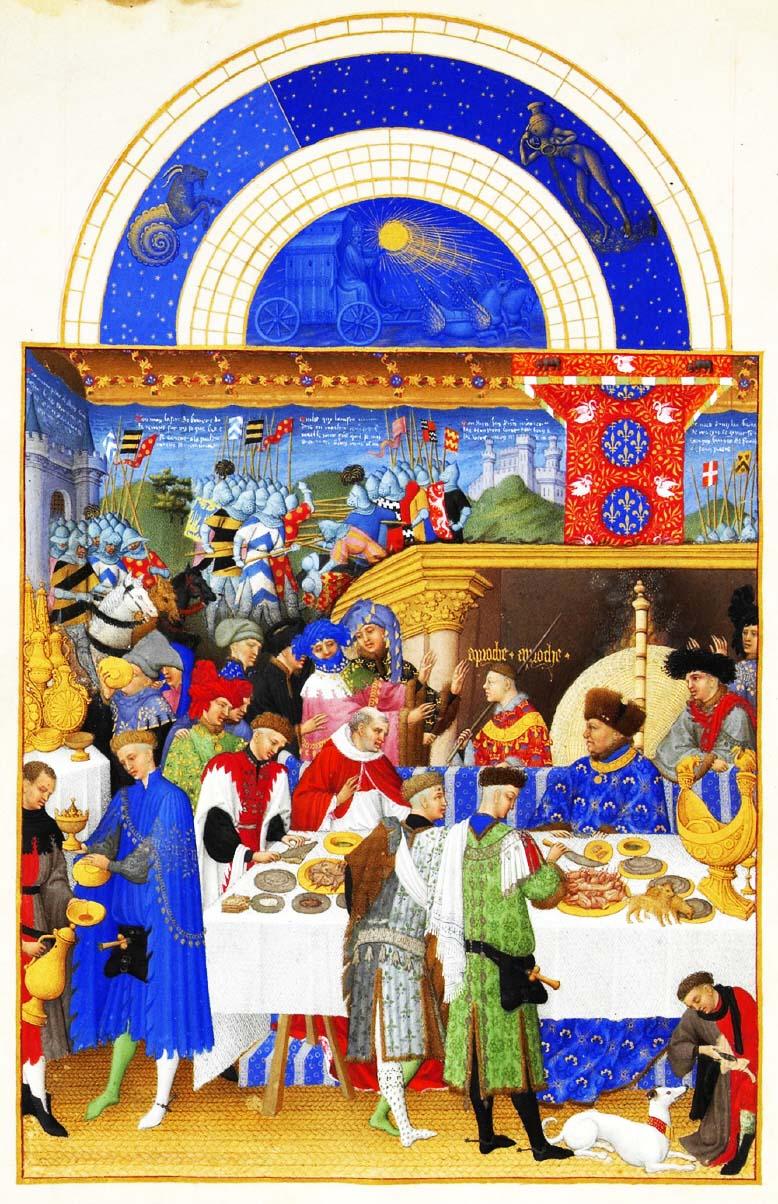 Stundenbuch des Herzogs von Berry, Johann von Valois bei einem großen Mahl, ca. 1410 via Kochzitate.de