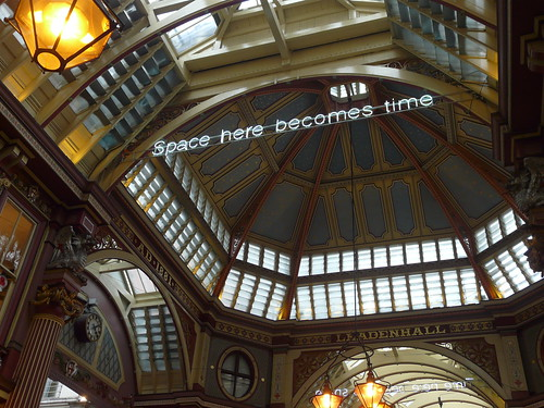 'Time Here Becomes Space, Space Here Becomes Time' by Cerith Wyn Evans, Leadenhall Market