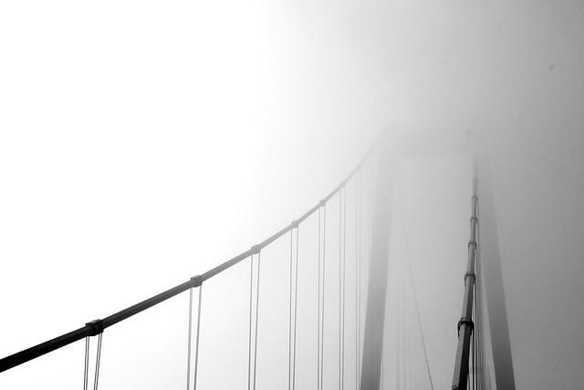 Goldengelchen Emmericher Rheinbrücke im Nebeldunst02