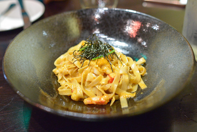 Uni and Lobster Pasta Santa Barbara Sea Urchin, Maine Lobster, Kizami Nori, Homemade Fettuccine