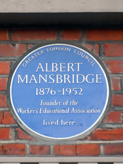 Photo of Albert Mansbridge blue plaque
