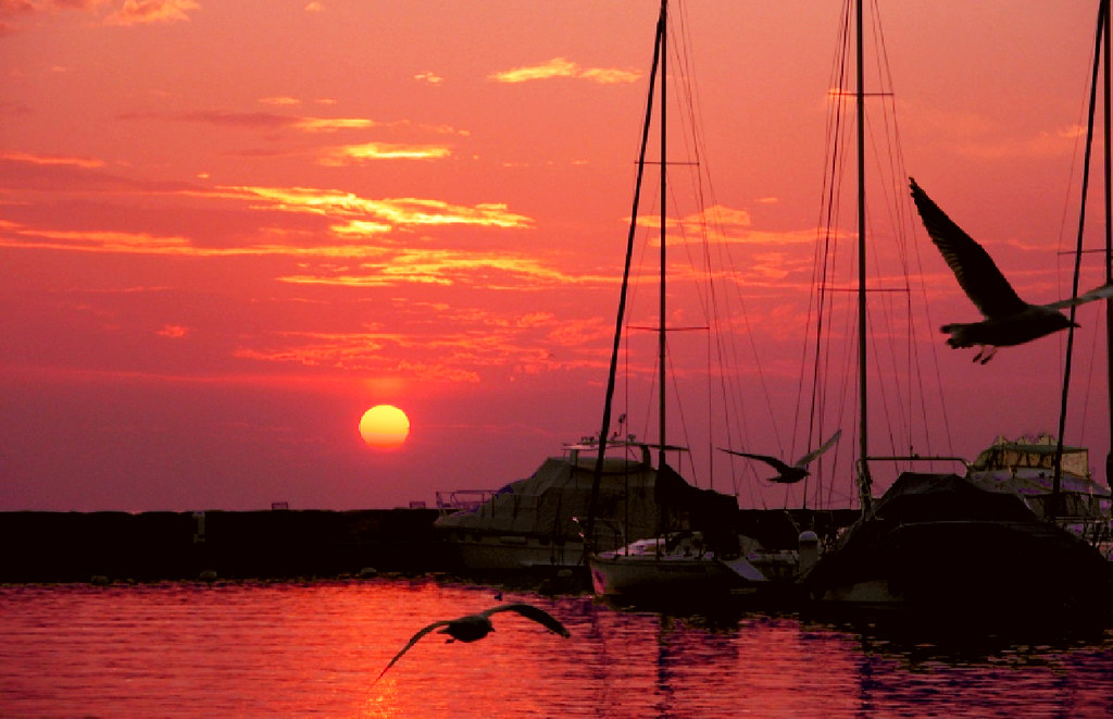 SWITZERLAND - Lutry Harbor at sunset