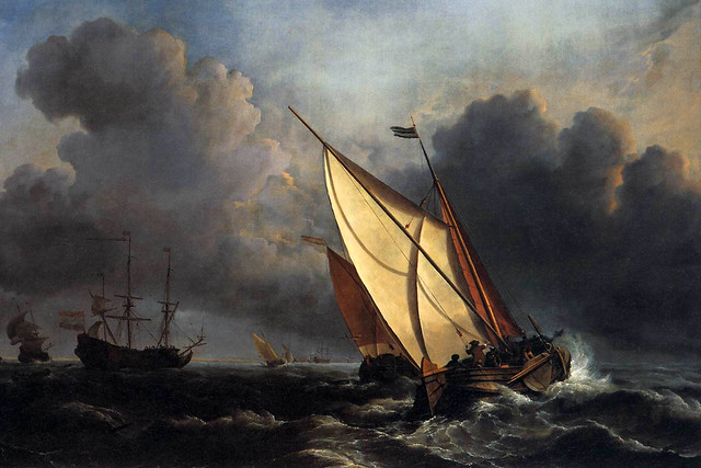 Ships on a Stormy Sea by Willem van de Velde the Younger (c. 1672)