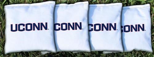 CONNECTICUT UCONN HUSKIES WHITE CORNHOLE BAGS