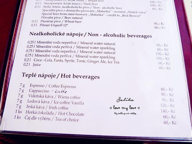 Hanavsky Pavilon menu
