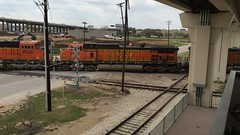 Trailing power crosses the old Katy and Cotton Belt heading North towards Frisco through Carrollton, TX