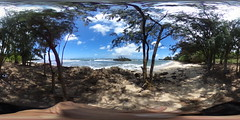 Kukaimanini Island and the Waiale'e Beach, Ko'olauloa, Oahu, Hawaii - 360° Equirectangular VR