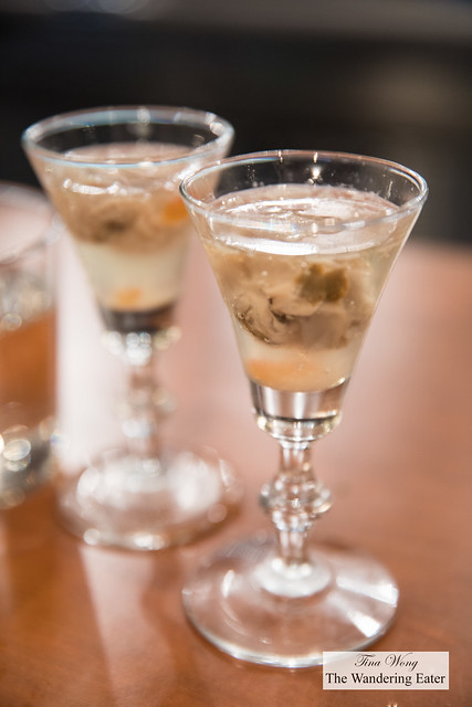 Island Creek oyster shooters, fresh ginger, salmon roe