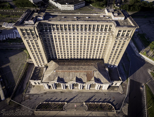 mcs michigan central station 2016 drone djip34k aerial city building train