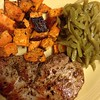 Day 27, Meal 2: For dinner, Pork Chops with Trader Joe's Everyday Seasoning, S&P and rosemary, roasted sweet potatoes with Everyday Seasoning and green beans. #whole30 #ww #weightwatchers