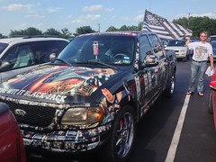 Spurs-decorated pickup truck